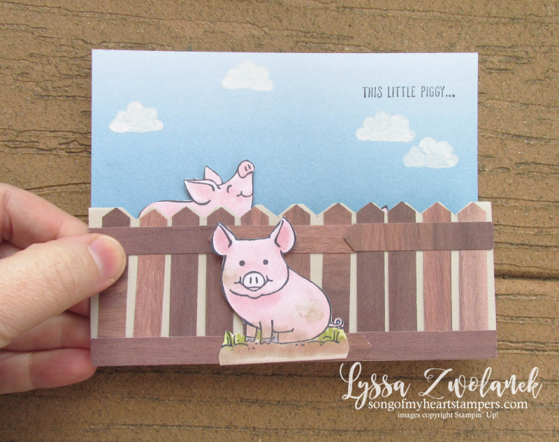 Piggy this little Stampin Up piggies pig stamp rubber fancy fold blends markers pop up punch art Lyssa