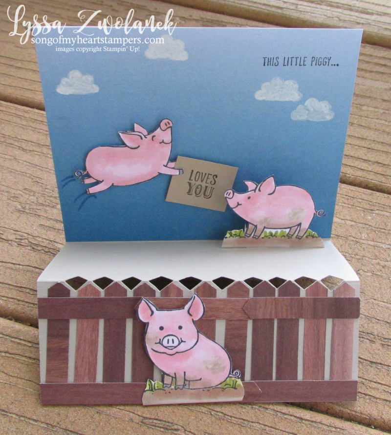 Piggy this little Stampin Up piggies pig stamp rubber fancy fold blends markers pop up Lyssa