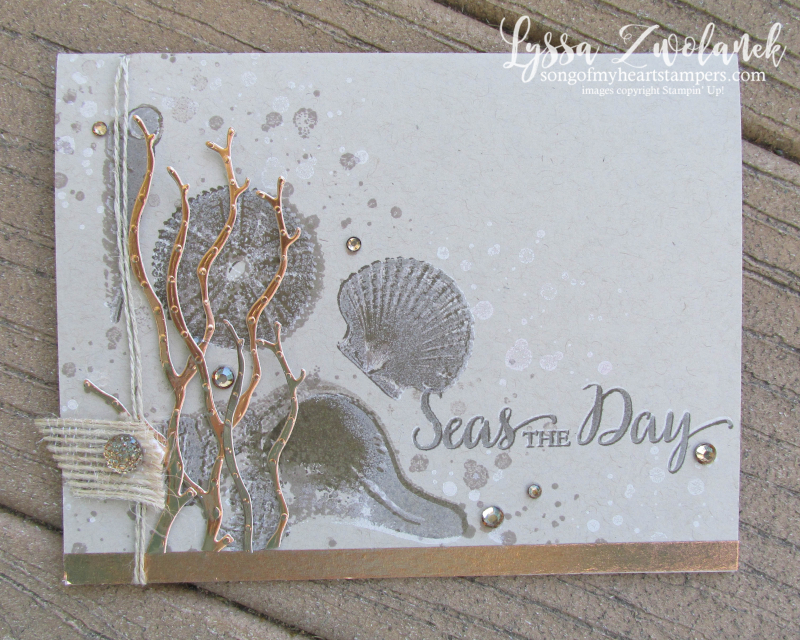 So Many Sea Shells shell beach wave sand shore Stampin Up rubber stamps shop Lyssa copper sea weed branches coral