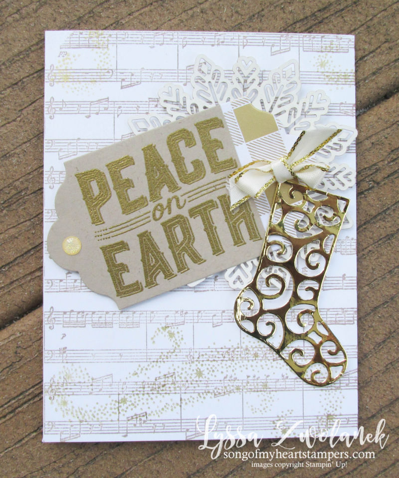 Peace on earth carols Christmas holiday cards deck halls cardmaking sheet music stampin up Lyssa