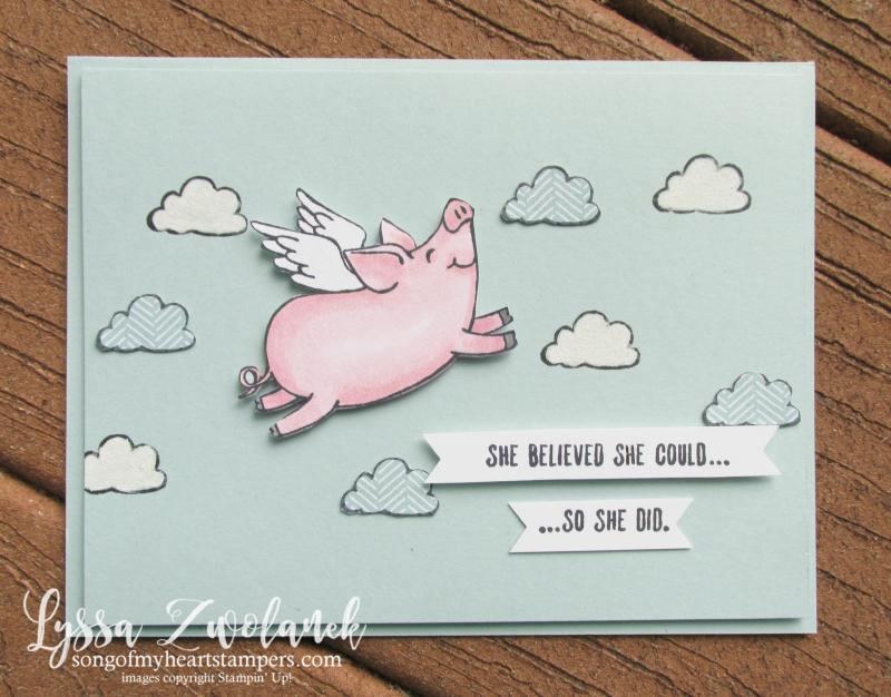 This Little Piggy stampin up class month tutorial cardmaking DIY pig piggies farm blends