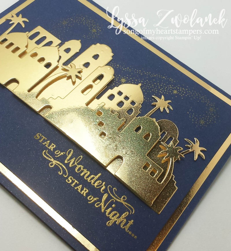 Bethlehem Edgelits thinlets night skyline stars Stampin Up christmas gold navy stamps Shop Lyssa