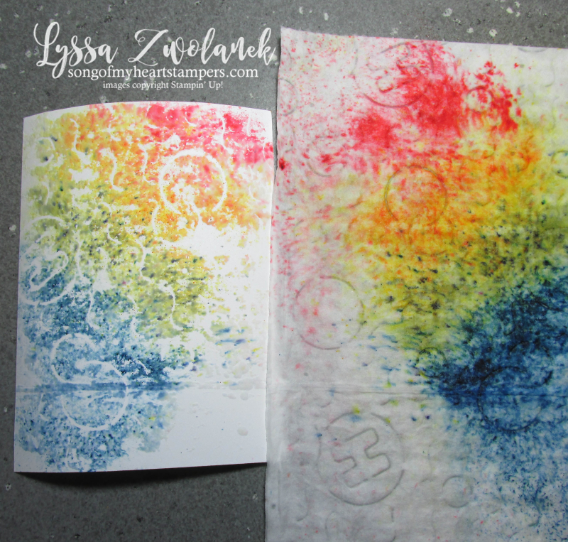 Easy Brusho Rainbow Baby Wipe technique background crystals aqua painter stampin up