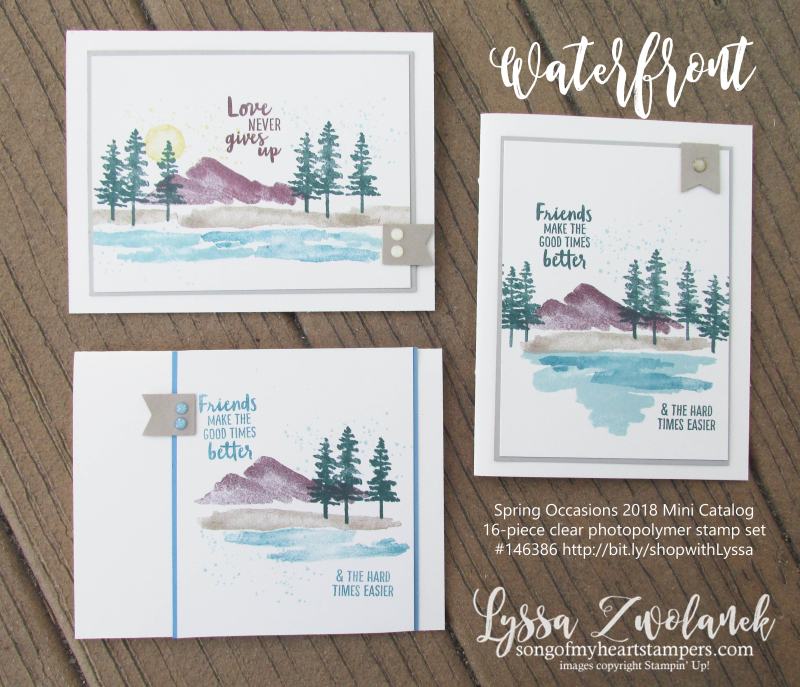 Waterfront stampin up shorleine beach mountains pines palms watercolor stamp set
