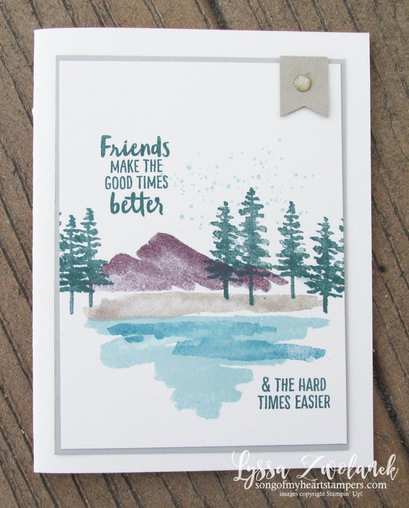Waterfront stampin up shorleine mountains pines palms watercolor stamp set