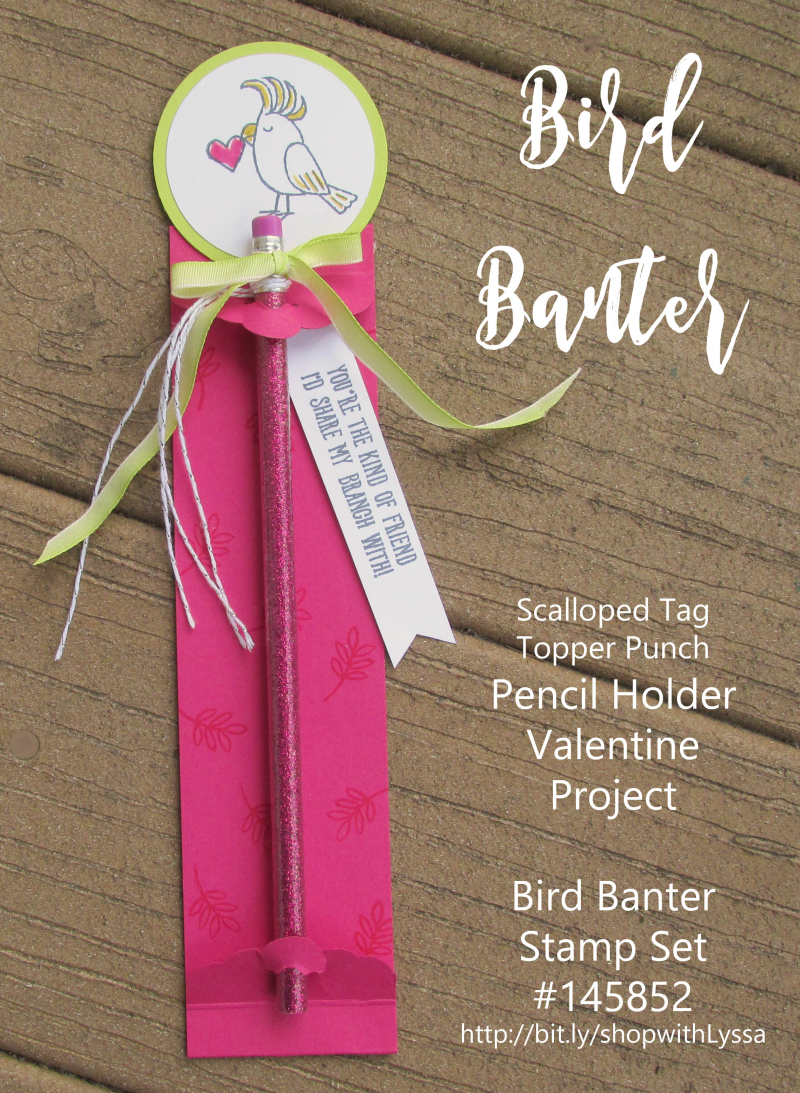 Bird Banter pencil holder project valentine classroom treats craft toucan rubber stamps tag topper cockatoo parrot macaw