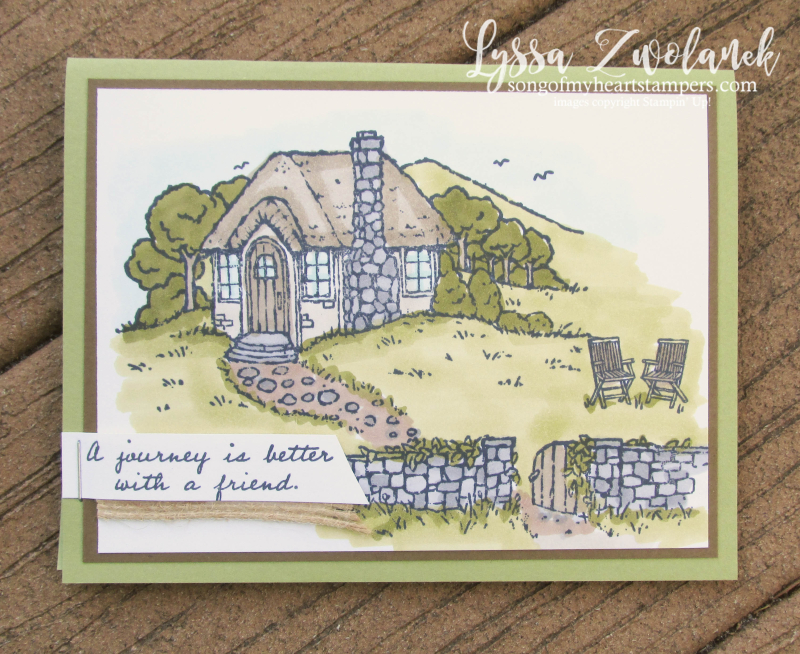 Cozy Cottage Stampin Up hostess exclusive rubber stamps watercolor blends english stone countryside