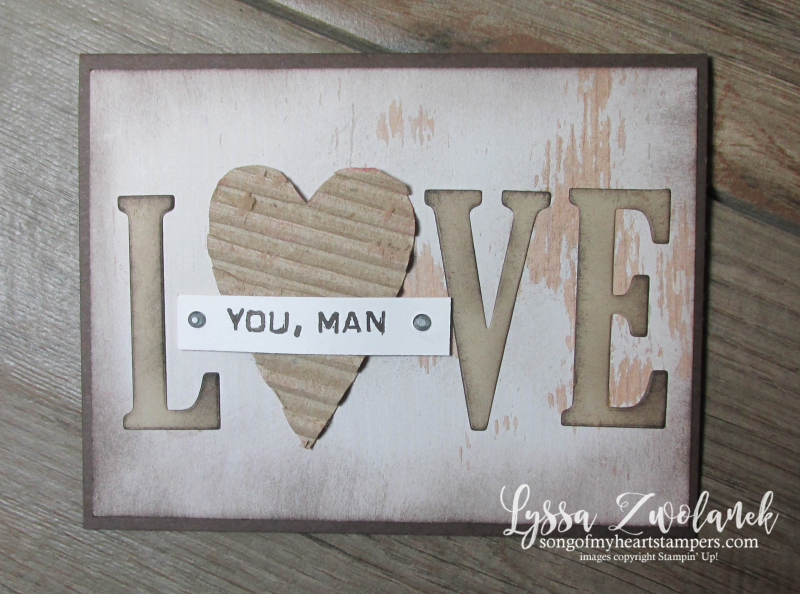 Large Letters love valentine diecut stamps eclipse technique Stampin Up masculine cardboard cardmaking