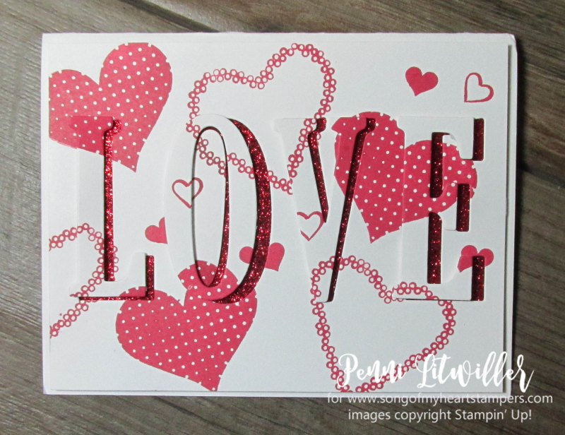 Eclipse Technique valentine love card red glitter Stampin Up cards rubber stamp