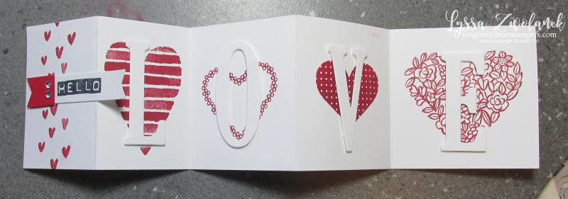 3x3 mini foldout popup card valentine love large letters stampin up shop now Lyssa stamps