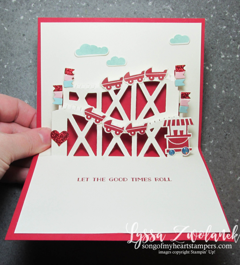 Valentine roller coaster let good times roll thrill ride pop up sizzix thinlets Stampin Up