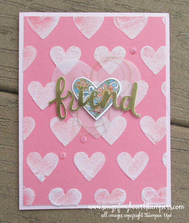 Glitter embossing paste valentine stencil masks gold foil diecut cardstock Stampin Up cards metallic Lyssa