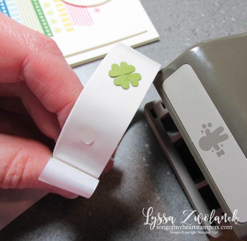 Mini shamrock rainbow st patricks day washi tape card punch art Stampin Up Lyssa