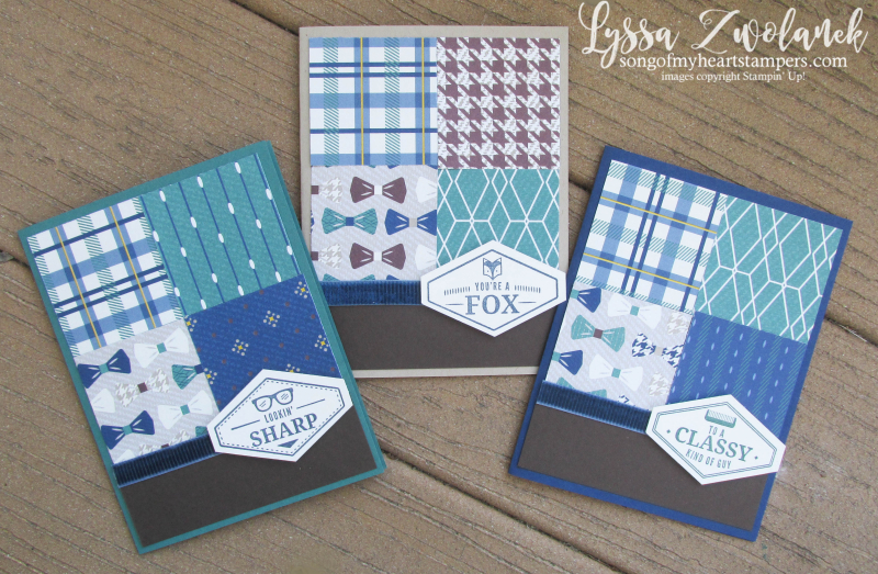 True gentleman suite papers bowtie glasses comb masculine mens guy cards stampin up shop Lyssa plaid houndstooth papers