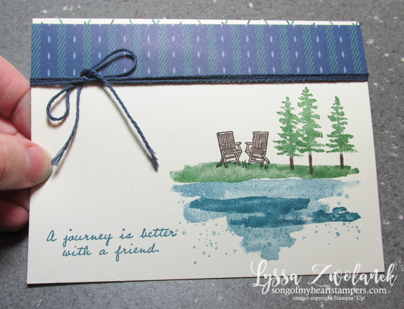 Waterfront adirondack chairs lakeside journey rest watercolor true gentleman masculine Stampin Up cardmaking