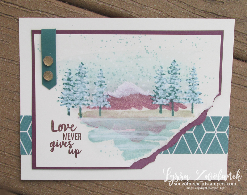 Waterfront beach mountains shore palm trees reflection layout stamps Stampin Up Lyssa shop Now