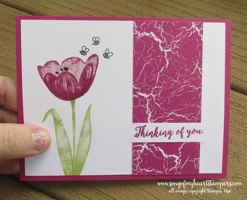 Paper Slit technique Tranquil Tulips hostess stampin up rubber stamps spring