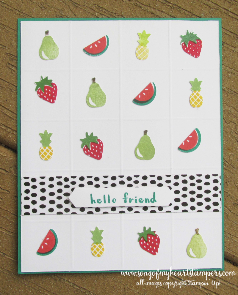 Tutti frutti punch pack apples strawberries pineapple basket stampin up rubber stamps
