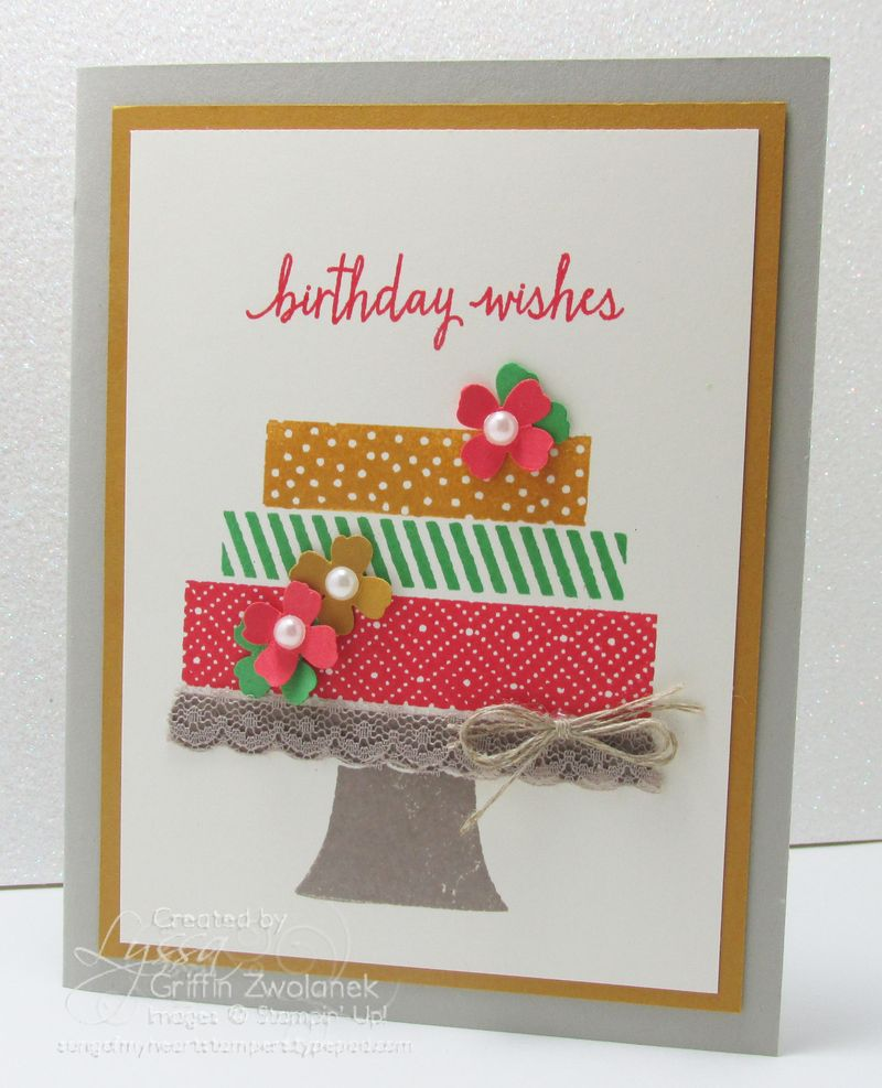 Cake with Lace Pedastal Stampin Up In Colors