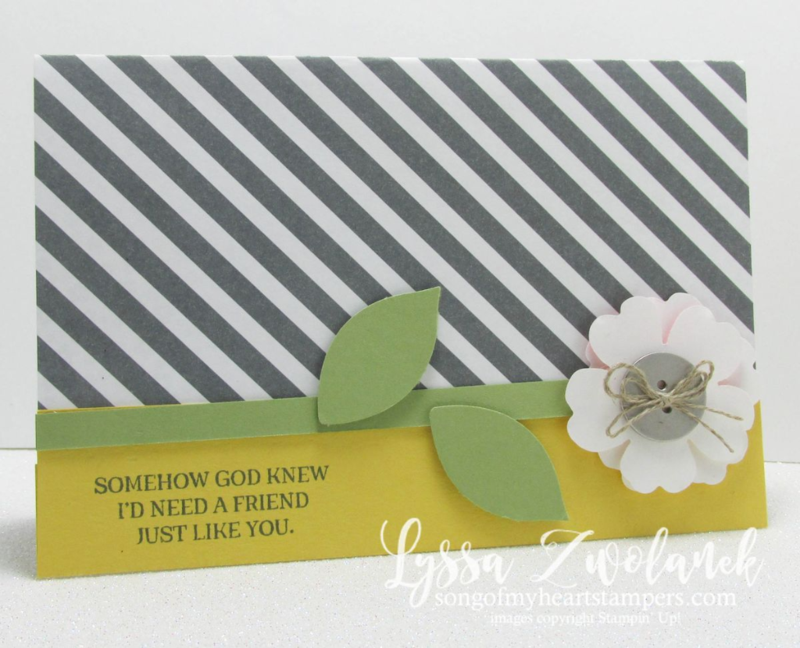 Rose Wonder Punch Art Diagonal Stripes Friend Card #stampinup www.songofmyheartstampers.com