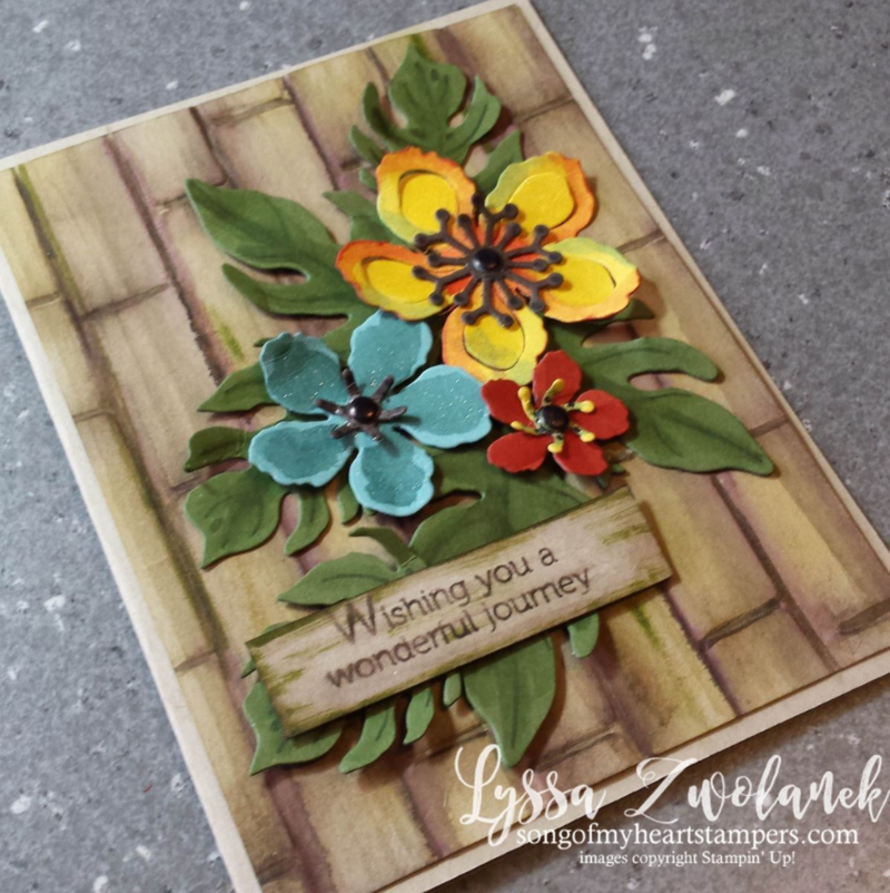 bamboo backgroung brick wall embossing folder Botanical Builders framelits Big Shot #stampinup www.songofmyheartstampers.com
