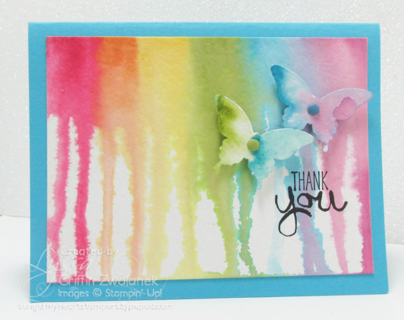 Rainbow watercolor drip technique #stampinup rubber stamping tutorials www.songofmyheartstampers.com