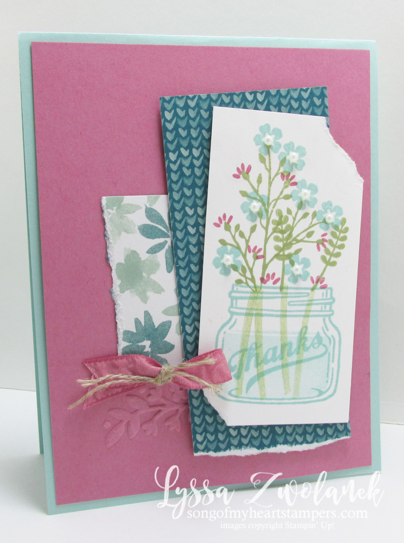 Mason jar flowers everyday thanks jars stampin up card
