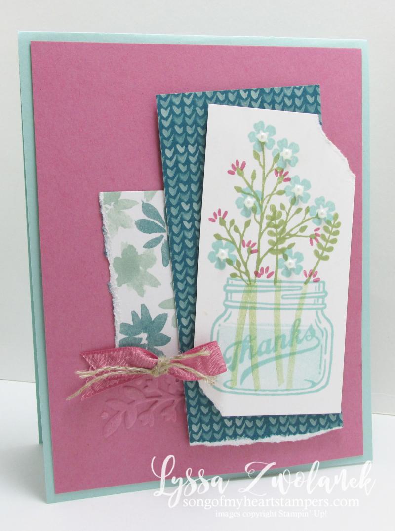 Mason jar flowers everyday thanks jars stampin up card