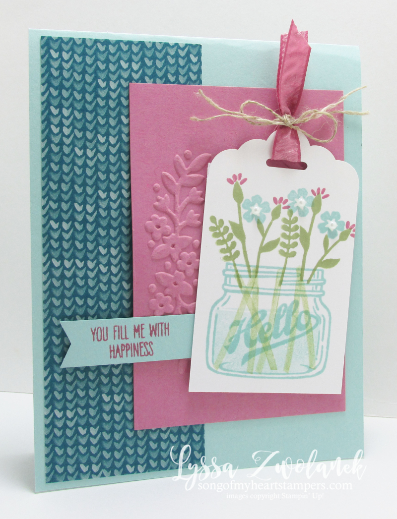 Mason jar flowers everyday hello stampin up card