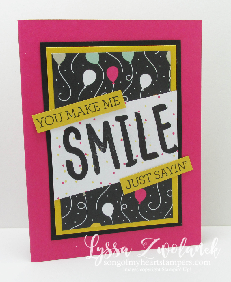 Hello thinlets stampin up sizzix birthday card smile just sayin