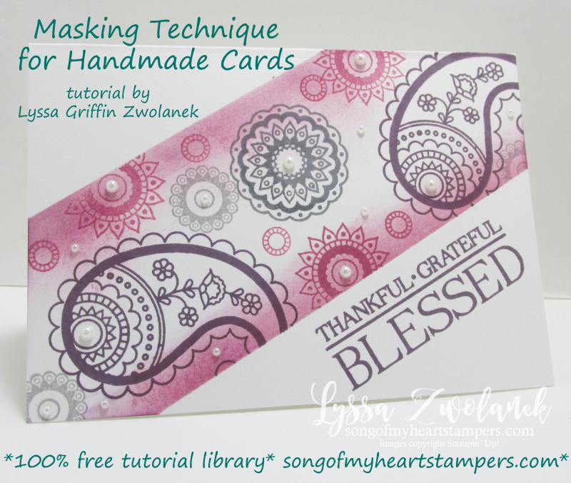 Masking technique for handmade cards Stampin Up sponging tutorial