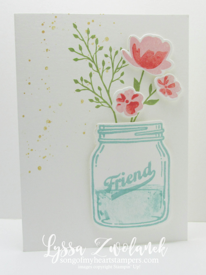 Mason Jar Ball bouquet wildflower notecard Stampin Up card Lyssa Zwolanek