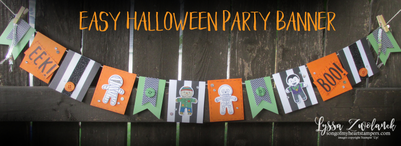 Halloween Party Banner Trick or Treat Book Eek Stampin up pennant