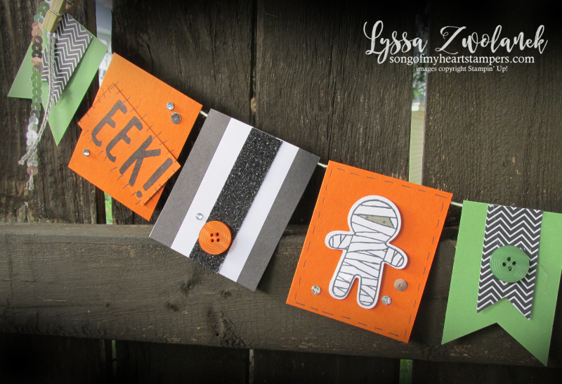 Halloween Party Banner Trick or Treat Book Eek Stampin Up Cookie Cutter pennant