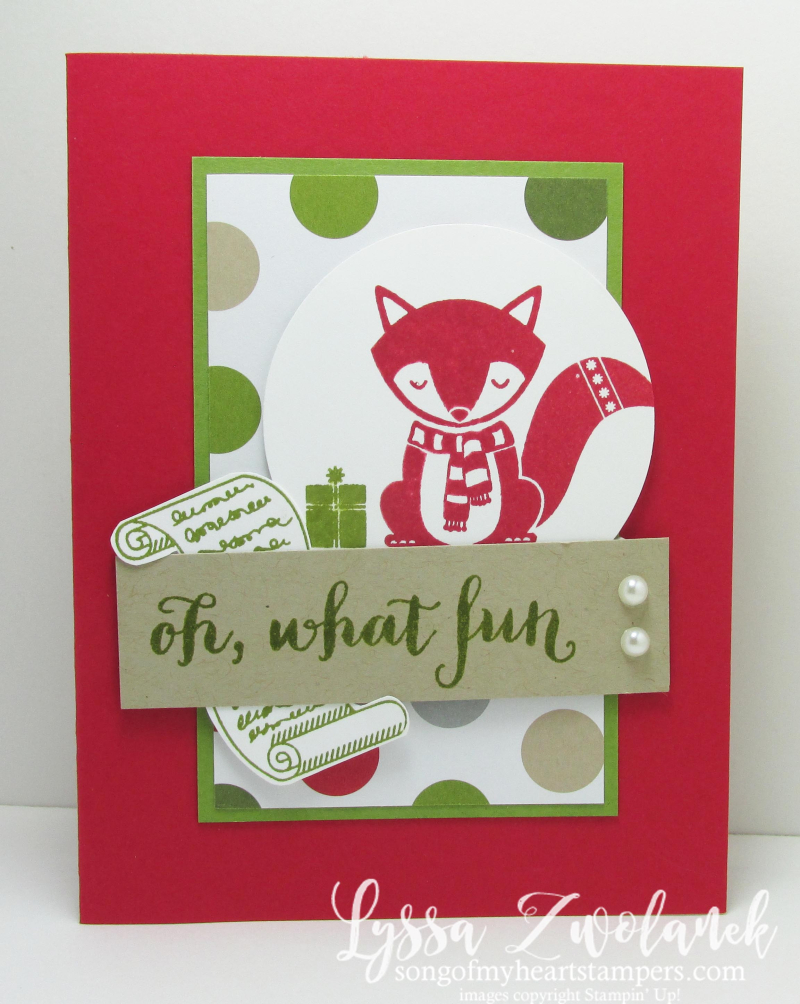 Oh What Fun Foxy Friends Christmas Card cute critters Stampin Up