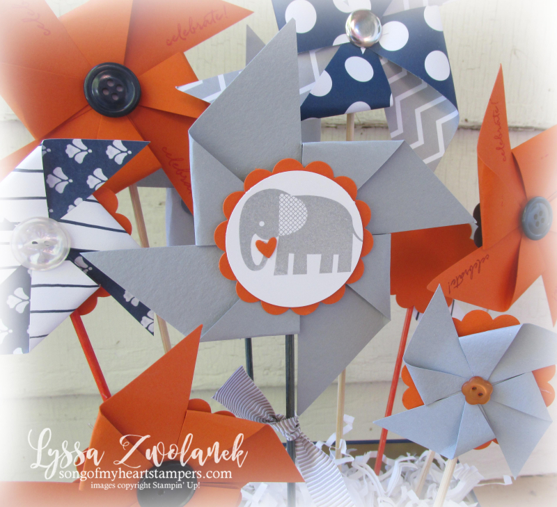 Elephant Baby Shower boy orange navy gray theme Stampin Up pinwheel