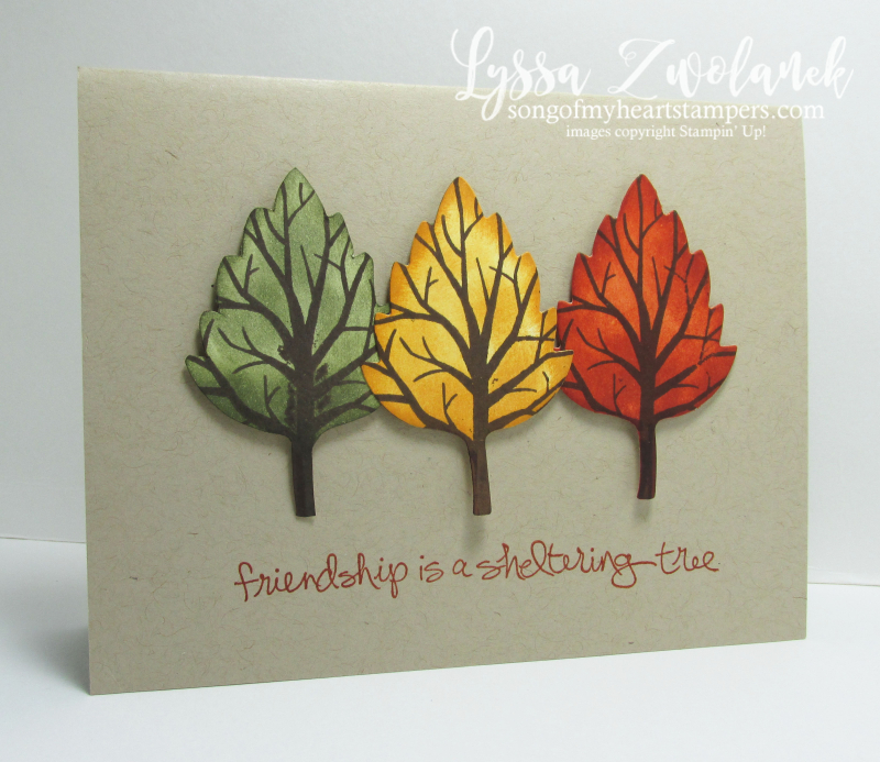 Three trees technique multicolor leaves branches sizzix die cut card