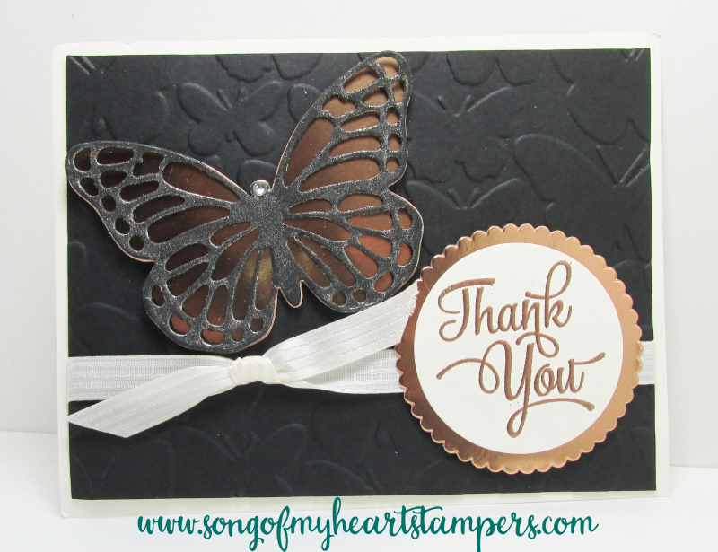 Bold Butterfly dies Stampin Up Copper Foil Paper black glimmer butterflies