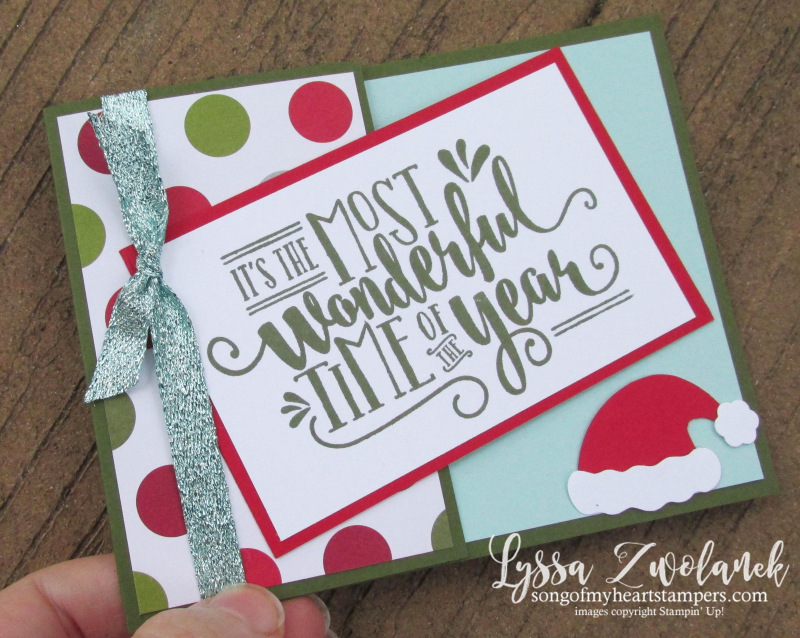 Hidden Message Half Fold Christmas Wonderful Year Holiday card Stampin Up