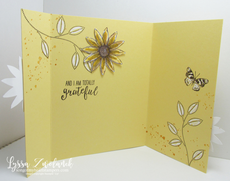 Stampin Up Grateful Bunch cardmaking sunflowers inside stamp set of the month