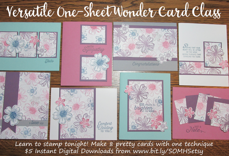 Versatile One Sheet Wonder Class to Go Song of My Heart Stampers Stampin Up cardmaking tutorial patterns sketches