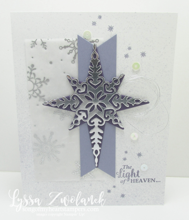 Star of Wonder Light Christmas Bethelhem holiday card stars sequins silver foil framelits