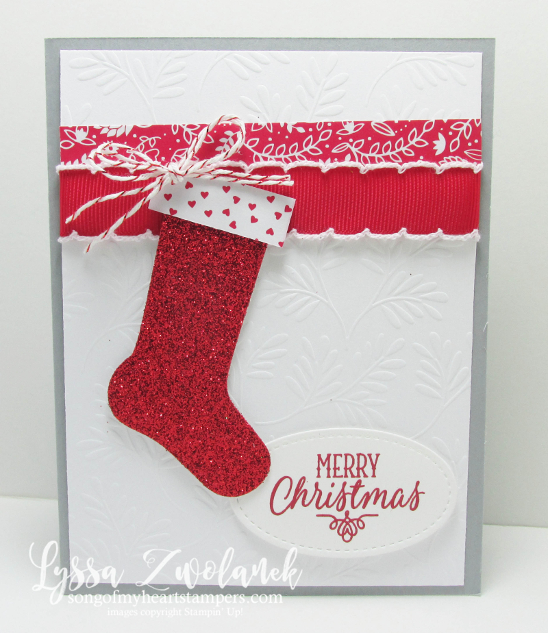 Hang Your Stocking Christmas stamp set die cuts framelits sizzix Stampin Up red glimmer