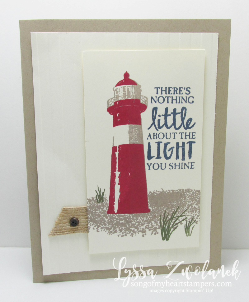 Lighthouse Card seaside seashore shore birds beacon burlap High Tide Stampin Up stamp set