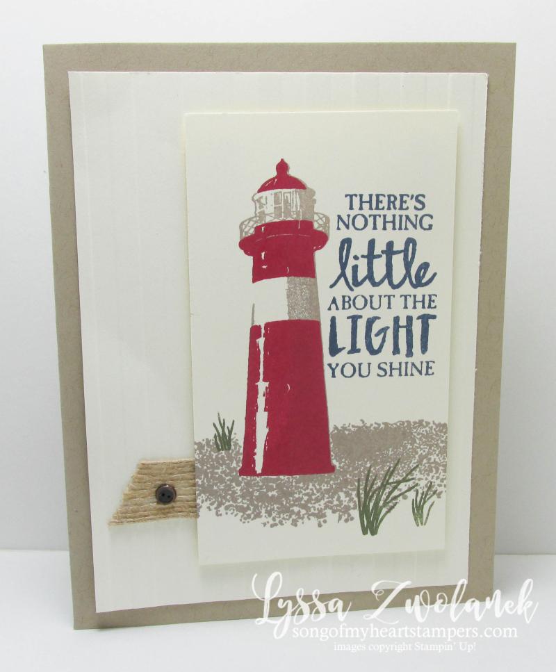 Lighthouse Card seaside seashore shore birds beacon burlap High Tide Stampin Up stamp set