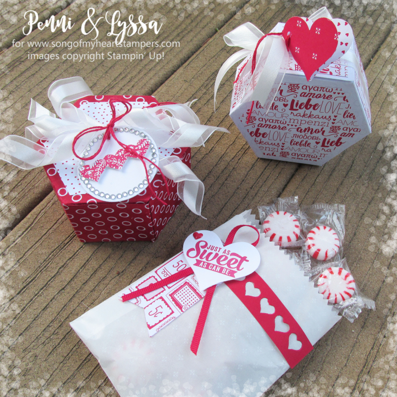 Valentine project blog series octagon window box mini treat bag thinlets 3D tutorials Stampin Up