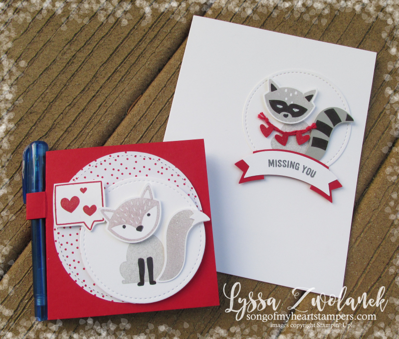 Valentine Foxy Friends punch art raccon squirrel cat kitty rubber stamps note post it stamping