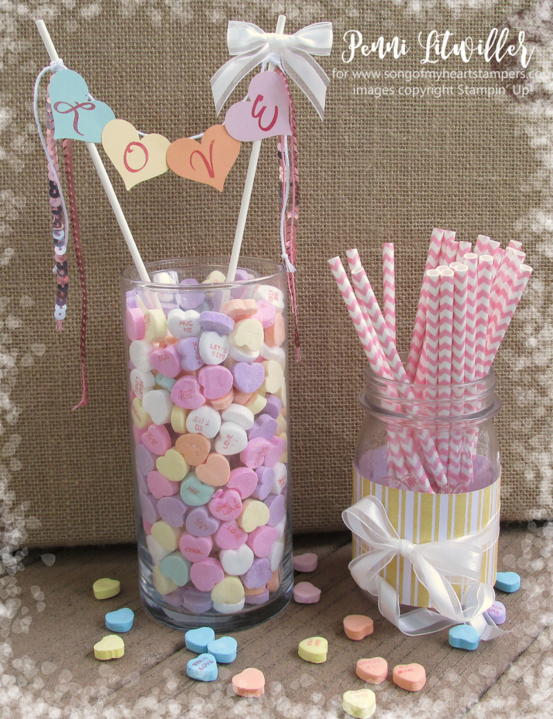 Conversation hearts Valentine heart punch valentines day Stampin Up thoughtful banners candy centerpiece Lyssa Zwolanek blog