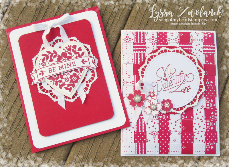 Fancy Valentines Bloomin Heart Love Lace Doily Formal Stampin Up Card