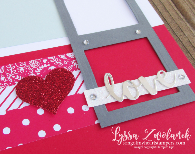 4x4 Scrapbooking Class Valentines Day scrapbook layout Sending Love paper glimmer sweetheart punch